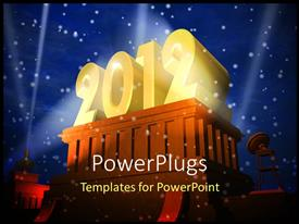 PPT theme consisting of the celebration of the year 2012 with lights in the background