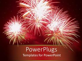 Audience pleasing presentation design featuring celebratory red fireworks in night sky