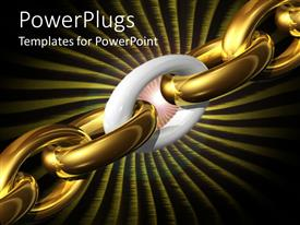 PPT theme featuring chain formed from gold plaited pieces with one white piece signifying weak link
