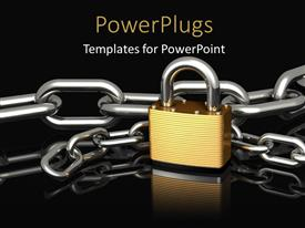 PPT layouts enhanced with a chain with a lock and blackish background