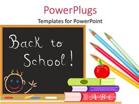 Amazing PPT layouts consisting of chalkboard with red apple on pile of books with pencils