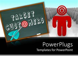 Theme having chalkboard with target customers and red target instead of o letter with dart pointing bullhead and large group of gray figures with red figure in front of line