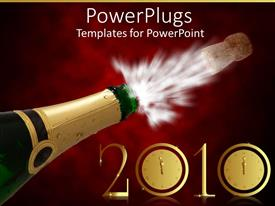 Elegant PPT layouts enhanced with champagne bottle popped open for celebration with a 2010 text