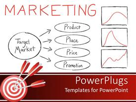 Theme with chart with four marketing strategies, with three graphs and three red darts