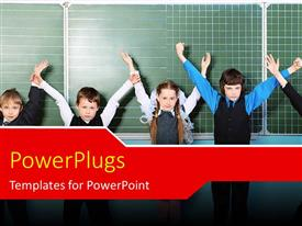 PPT theme with cute little kids raise hands in classroom with chalkboard in background