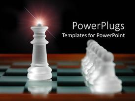Colorful presentation design having chess table with white chess pieces, king piece and pawns depicting leading concept