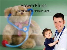 Slide set having child care with doctor with stethoscope around neck holding a baby in his arms, with blurred teddy bear wearing toy stethoscope in the background