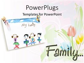 Colorful PPT layouts having child drawing of loving family and roses on a white background