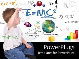 Presentation design featuring child with formulas and equations