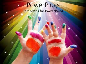 Amazing presentation theme consisting of child hands with colorful painting on fingers and palms