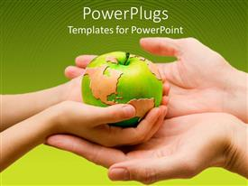 Colorful PPT theme having a child holding the globe in form of an apple with the mother's hands beneath his