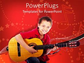 PPT theme having a child holding the guitar with music symbols in the background