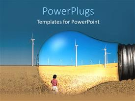 Elegant presentation design enhanced with a child looking towards the wind mills and being highlighted