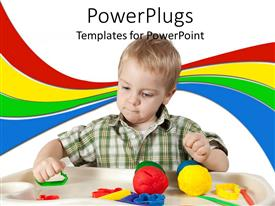 Audience pleasing PPT theme featuring a child playing with different toys with various colored lines in the background