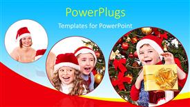 Amazing slides consisting of three tiles showing kids wearing Christmas caps smiling happily