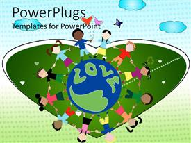 PPT theme enhanced with children holding hands around word love, heart background