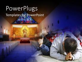 PPT theme consisting of children praying in the church with christ