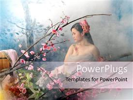 Amazing presentation theme consisting of a chinese girl with flowers and smoke in the background