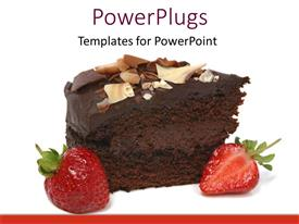 PPT theme consisting of chocolate cake with strawberry on white background