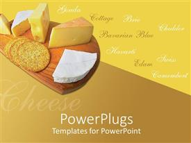 Presentation design featuring a chopping board with cheese and bread and some texts