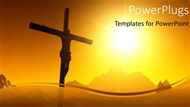 Colorful PPT theme having a sunset view of a cross with Jesus Christ
