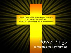 Elegant presentation enhanced with christian crucifixion glowing cross with quote about Jesus Christ, black background, religion, spiritual