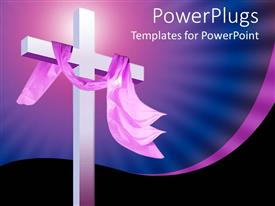 Elegant presentation enhanced with christian religion theme with white cross and pink cloth, blue and black background