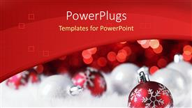 Amazing presentation theme consisting of christmas depiction with Christmas ornaments in white background