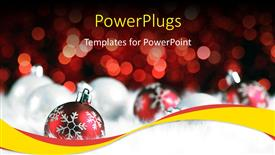Beautiful PPT theme with blurry view of three red colored Christmas ornaments