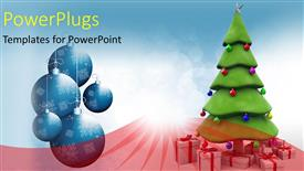 Elegant PPT layouts enhanced with a Christmas tree with lots of Christmas gifts and ornaments