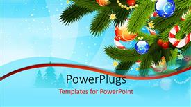 Theme featuring christmas depiction with colorful ornaments on Christmas tree over blue background