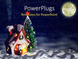 Colorful PPT theme having a Christmas celebration theme with moon in the background