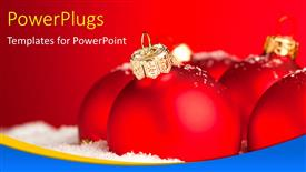 Audience pleasing PPT layouts featuring a close up view of red Christmas ornaments over a red background