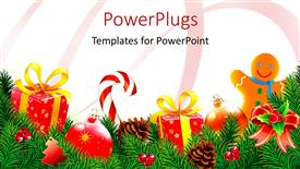 Presentation consisting of lots of Christmas tree ornaments and decorations on a floral background