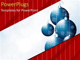 Beautiful PPT layouts with christmas depiction with blue ornaments over red background with white lines