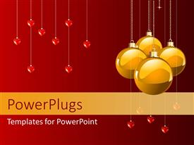 Audience pleasing PPT theme featuring christmas depiction with four yellow ornaments and heart symbols hanging