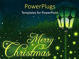 Slide deck featuring christmas depiction with glowing stars and lamp on green themed background