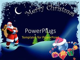 Elegant PPT theme enhanced with christmas depiction with Santa Claus carrying gift bag and snow flakes