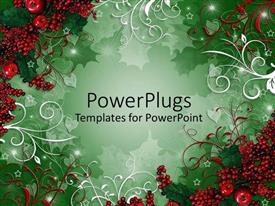PPT theme enhanced with christmas depiction with strawberries as frame and green background
