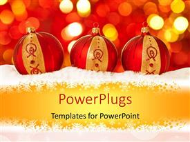 Audience pleasing presentation theme featuring christmas depiction with three beautiful decorating ornaments in snowflakes
