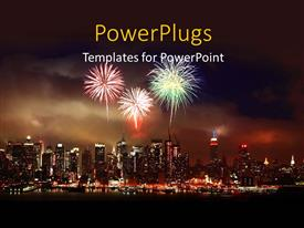 Colorful PPT layouts having christmas depictions with fireworks in night sky over modern city