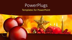 PPT layouts consisting of christmas ornaments with burning candles on colorful background