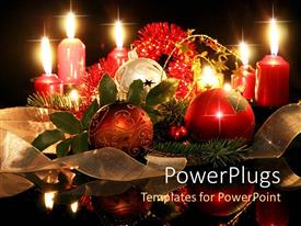 PPT theme enhanced with christmas holiday theme with ornaments, pine branches, tinsel, ribbon and candles, black background