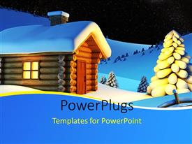 Elegant PPT layouts enhanced with a small wooden house in the snow beside some trees