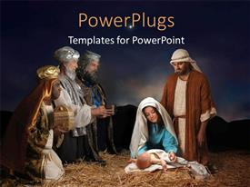 Elegant slides enhanced with christmas nativity scene with Wise Men presenting gifts to baby Jesus Mary & Joseph