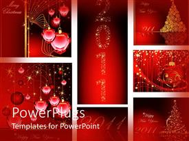 Colorful PPT theme having christmas and new year 2011 ornaments on a red background