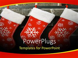 Presentation theme having three chirstmas socks with colorful white patches on a wall