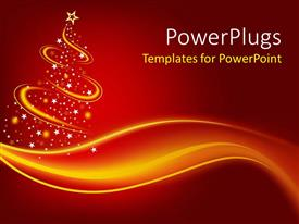Beautiful PPT theme with christmas theme with abstract Christmas three with gold waves and glowing point with white stars and gold star on red background