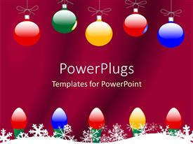 Elegant PPT theme enhanced with christmas theme with colorful globes and Christmas lights and snowflakes