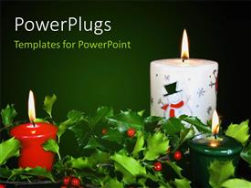 Presentation enhanced with christmas theme with glowing candles & fresh seasonal holly
